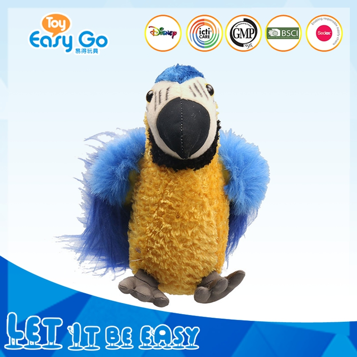 Bright colorful blue standing parrot plush toy bird toys