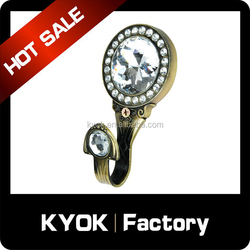 KYOK China supplier antique brass adjustable curtain hook, crystal curtain hook
