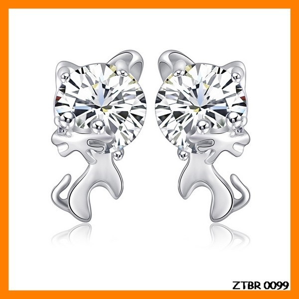 Lovely Zircon Cat 925 Silver Earring Wholesale ZTER 0099