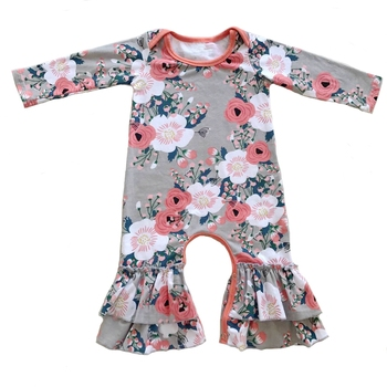 Wholesale Children's Boutique Clothing Plain Flowers Sleeveless Cotton Baby Rompers jumpsuit