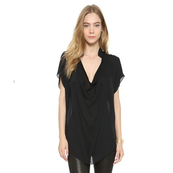 Wholesale Custom Black V-Neck Short Sleeve Blouse Femme