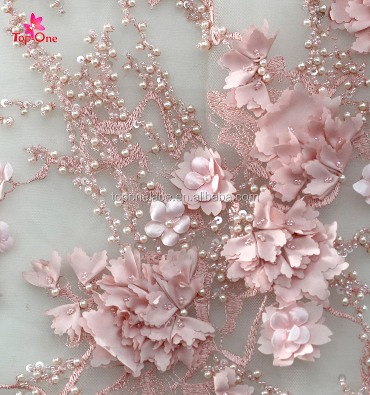 2017 Handwork Pink Lace Fabric For Party Dress 3D Wedding Dress Material