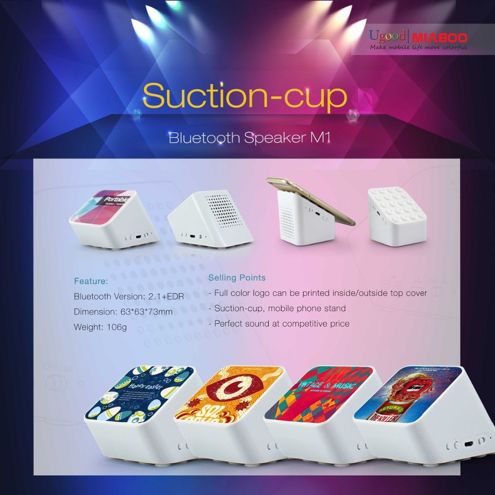 New product portable music mini bluetooth speaker, phone stand bluetooth speaker with epoxy doming logo or full color logo