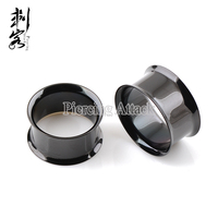 Black Titanium Anodized Double Flared Plug Ear Body Jewelry