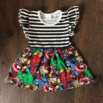 cheap wholesale girls character print dress girls summer tunic with flutter sleeves
