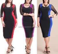 plus size midi dress long sleeve ladies latest office uniform design