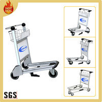 3 wheels 250kg load airport aluminum luggage trolley
