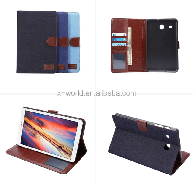 for Samsung Tab E 8.0, Classic design Jeans leather standcase, flip wallet leather case, PU leather tablet case