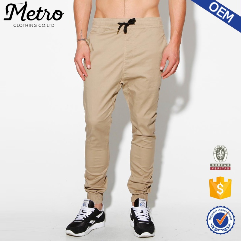 Custom chino jogger pants man elastic waistband sweatpants