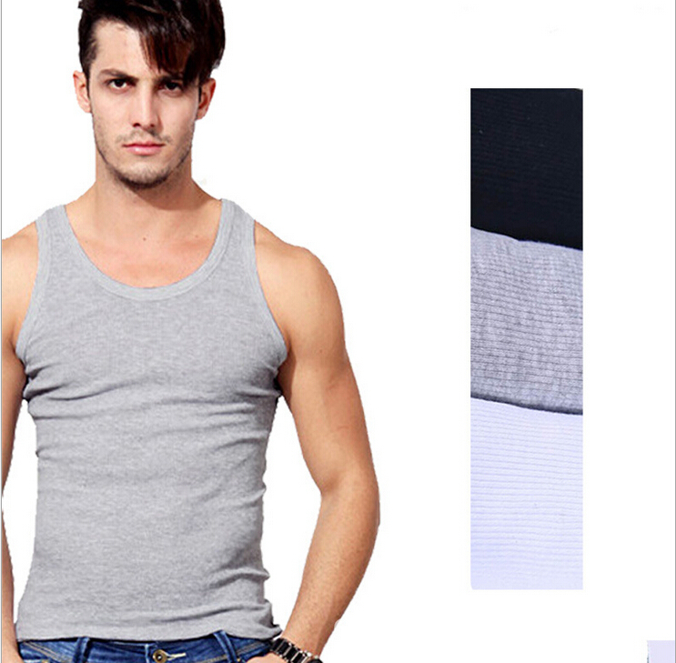 Tank Top Men 2015 Tank Top Men Summer Solid Cotton Fitness Mens Sexy Muscle Gasp Gym Shark Tank Tops Mens Singlet Big Size L 3XL