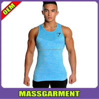 2015 Gym Shark Seamless Dry Fit blue tank top for men