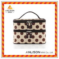 Zipper portable cosmetic polyester bag for girls