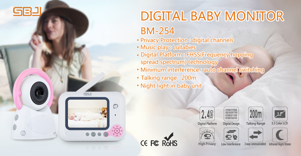 2.4GHz 3.5 lcd wireless digital video baby monitor with music lullabies temperature sensor
