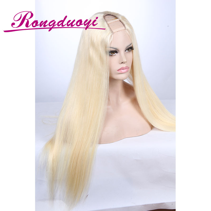 60# Hair Color Blonde U Part Wig Brazilian Silky Straight Human Hair Wig