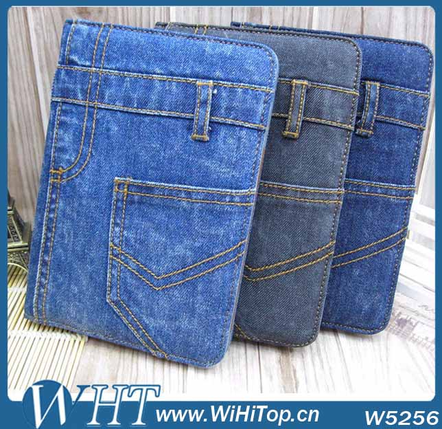 Luxury Tablet PC Protective Accessory Unique Jeans Cloth Leather Case for iPad Air 5