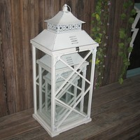 classical shabby white wedding wooden candle lantern with glass