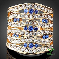 18K women multi crystal gold plating golden rings