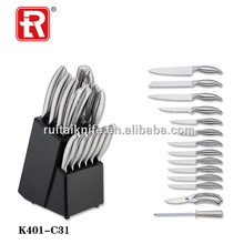 14pcs Hollow Handle Stainless Steel Kitchen Knives Set With Wood Block