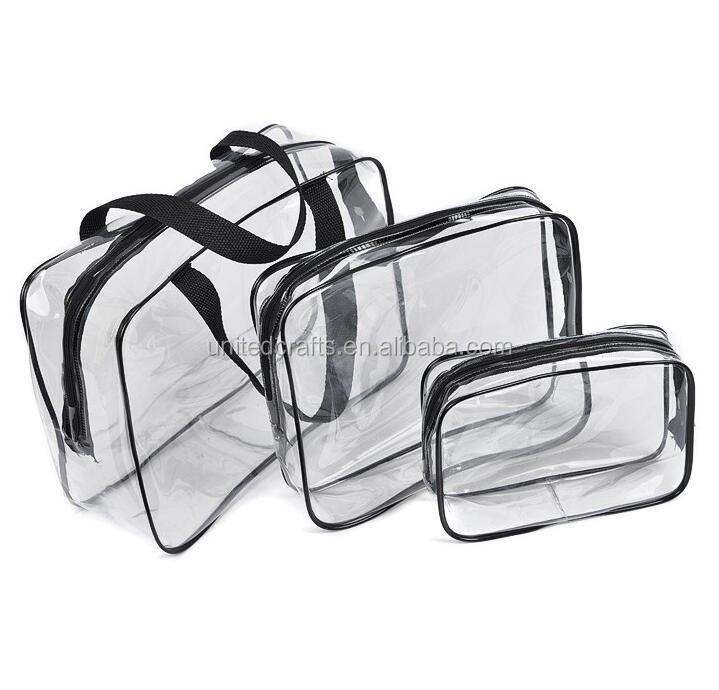 cheap custom transparent waterproof printed promotion plastic zipper clear pvc cosmetic bag