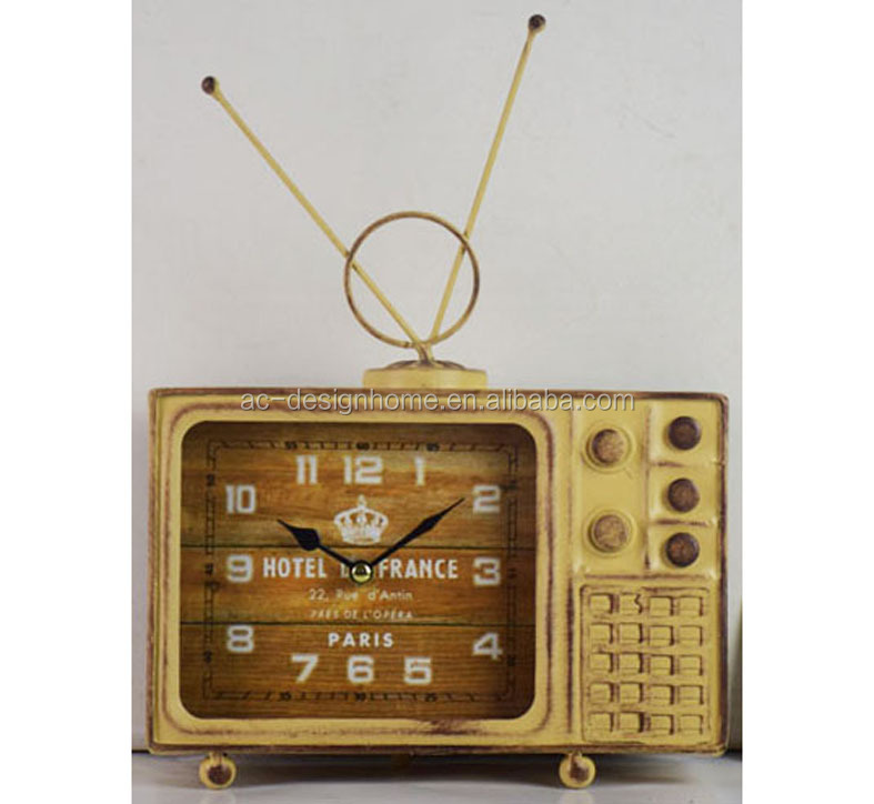 2018 HOT ITEM RETRO UNTIQUE ANTIQUE VINTAGE TELEVISION SHAPED TABLE TOP CLOCK FOR DECORATION