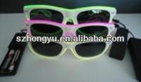 Crazy funny club amazing plastic EL wire flashing 3D luminous/noctilcent/fluorescent sunglasses party glasses