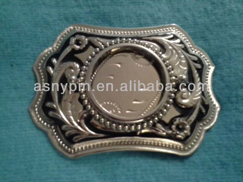 Designed Silver Tone Blank Coin Belt Buckle