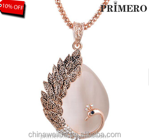 Fine Jewelry New Fashion KC rose Gold Filled opal czech Crystal pendant Peacock Necklace Earring Wedding jewellery