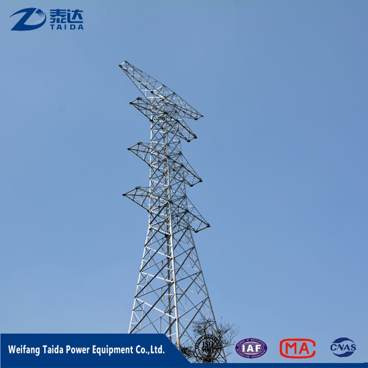 High Tension Telecommunication 500Kv River Crossing Transmission Line Steel Tube Tower
