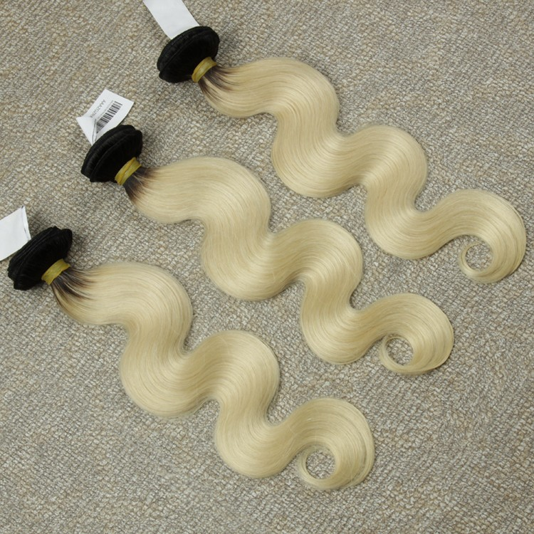 Brazilian Body wave straight hair bundles ombre hair extension color 1b and 613 blonde hair
