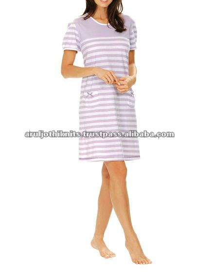 LADIES STRIPED NIGHT GOWN WITH POCKETS