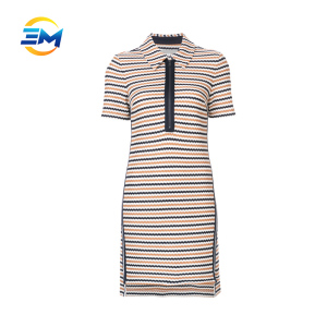 Custom women new turn down collar stripe slim short sleeve 100% cotton polo T shirt dress