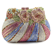 Elegance Box Shape Ladies Wedding Bride Rose Flower Crystal Rhinestone Evening Clutch Bag