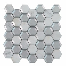 Bright color cheap hexagon mosaic tile sheets