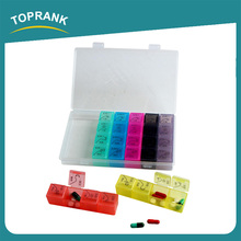 Toprank CE Certified Logo Printed PP Travel 7 Day Pill Organizer Monthly Pill Organizer 28 Compartments Pill Dispenser
