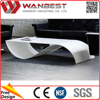White Special Shape Solid Surface Bending End Table Special design solid surface coffee dining table