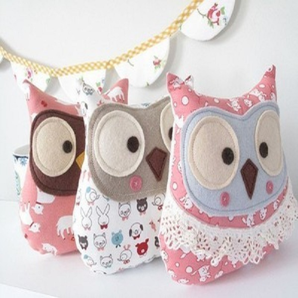 wholesale super cute and soft plush owl bolster pillow
