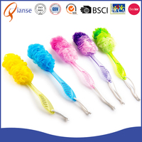 Customized factory price long handle plastic soap dispensing body exfoliating bath brush with mesh puff sponge material for hair