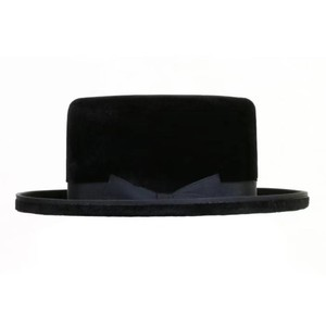 Top grade antique Retro men's adult long hair brushed rabbit fur felt borsalino jewish hat fedora hat black retro hat