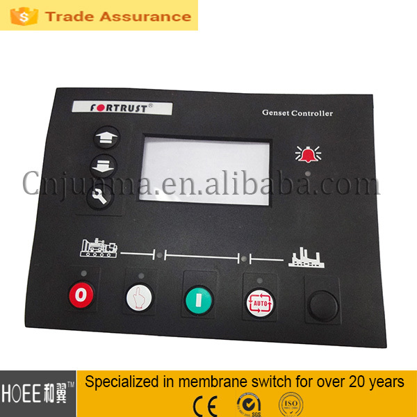 Silicone buttons membrane overlay panel with window