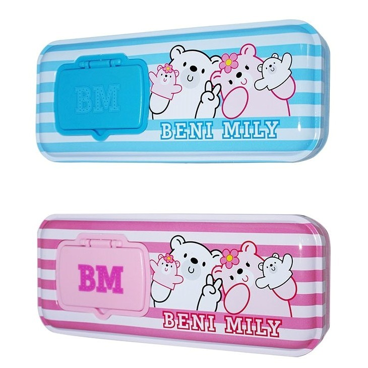 Tinplate two layers pencil case with cartoon character OEM designs