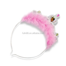princess hair accessories headband crown tiara ,hairband with pink fur