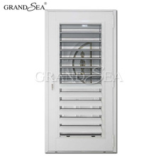 Half aluminum half glass interior stained glass louver doors for sale