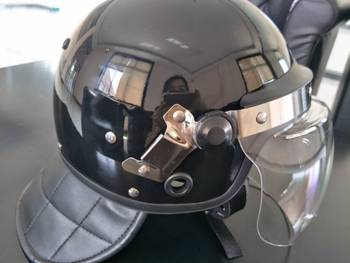European style full face military riot helmet with gas mask holder