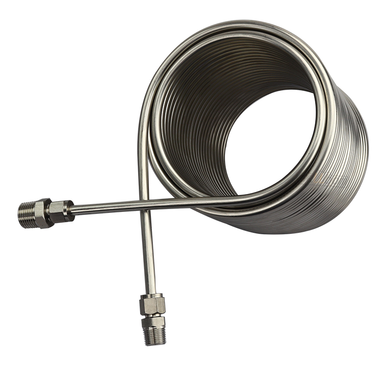 "20m Length Cooling Coil  Double Layer Beer Water Wort Chiller Food Grade 304 Stainless Steel With 3/8'' and 1/2"" Connector"
