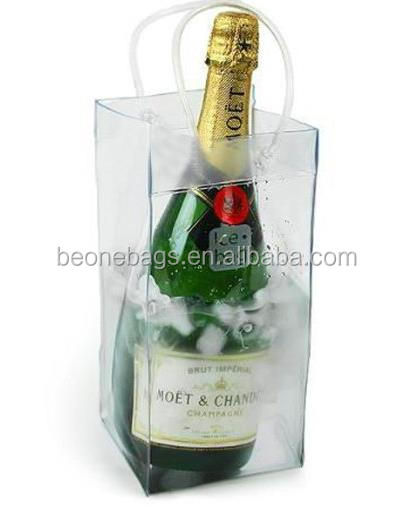 Hot sale clear transparent pvc wine ice cooler bag with handle