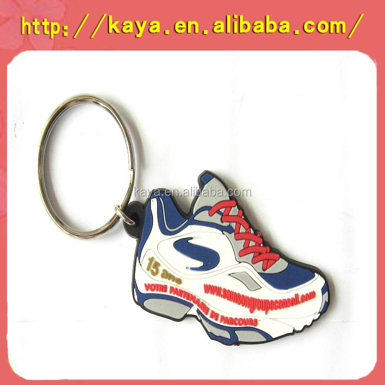 Plastic soft pvc 2d running shoe key chain
