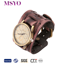MSYO brand wholesale mens leather bracelet fashion bracelet watch