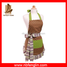 New design cotton denim cotton printing lace cooking aprons for kitchen