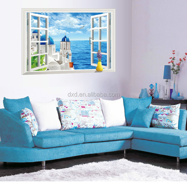 Removable 3D home decoration Aegean Sea Wall Stickers 3d false window landscape wall stickers