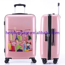 3 pcs 20 24 28 abs pc lightweight cheap polycarbonate trolley luggage with printed pattern